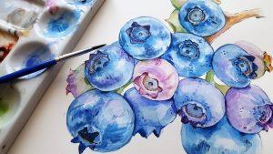 mustikoita, vesivärimaalaus